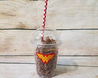 Wonder Woman Inspired Clear Plastic Cups with Dome or Flat Lid - Plates - Coffee Cups - Super Hero Party Items - Wonder Woman Birthday Party