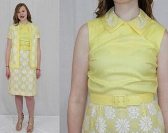 Vintage 60s MOD R&K Yellow Floral Lace Midi Retro Linen Dress Jacket Set Suit M