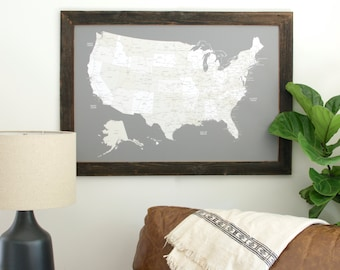 US Map Push Pin, Travel Map, United States Map, Push Pin Map, Husband Gift, Gifts for Traveler, United States Travel Map,Custom Father's Day