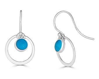 Turquoise Earrings Dangle, Turquoise Earrings Sterling Silver, Genuine Turquoise Earrings, Real Turquoise, December Birthstone Earrings