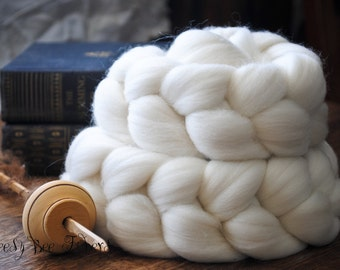Domestic Merino Natural Ecru Undyed Combed Top Wool Roving Spinning Felting fiber - 4 oz