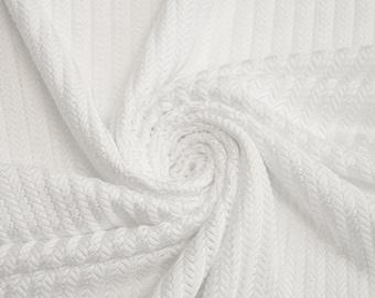 White Arrowhead Stretch Knit Fabric  - 1 Yard Style 6019