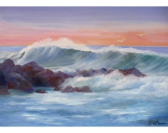 Hawaii original oil seascape painting on board unframed 5x7 surf art by Janet Zeh Original Art