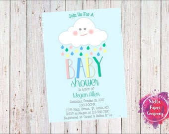 Baby Shower Rain Cloud Invitation (Digital Download)