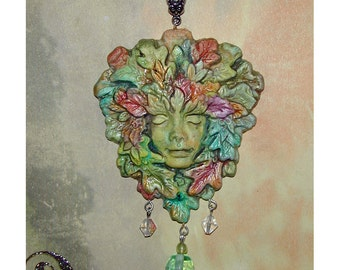 Stunning Greenwoman Lady of the Forest Pendant Green Goddess
