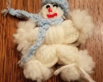 Vintage Yarn Doll Snowman Ornament