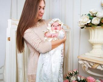 Elizabeth christening set for baby girl, Christening dress, lace baptism dress, christening gown, baptism gown, christening outfit for girl