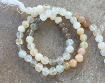 Multi Moonstone Round Beads, Grade A, 6mm, 15 inch strand