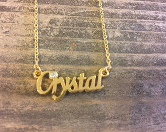 Crystal Personalized Necklaces in Gold