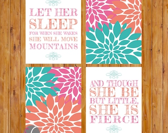 Let Her Sleep Move Mountains And Though She be but little Fierce Teal Coral Nursery Flower Wall Art 8x10 Digital JPG Instant Download (87)