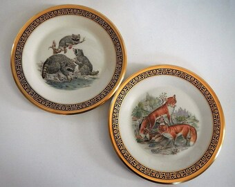 Vintage Lenox Boehm Raccoons or Red Foxes Plate -CHOICE -1973, 1974-limited edition, Woodland Wildlife collector plate, forest animal