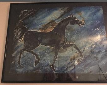 Vintage 80's Original Watercolor Painting Black Horse Blue Storm Molly Adams