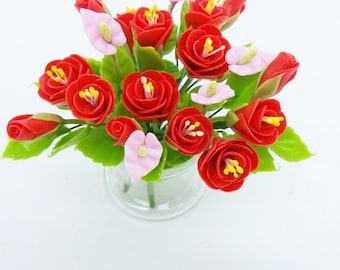 Blooming Miniature Polymer Clay Flowers Supplies Bloody Peony in glass vase 1 piece