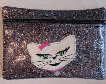 Handmade - Diva Cat Design - Silver -Glitter Vinyl - Cosmetic Makeup Bag - Zipper Pouch