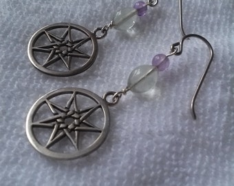 Fluorite Faery Star Earrings