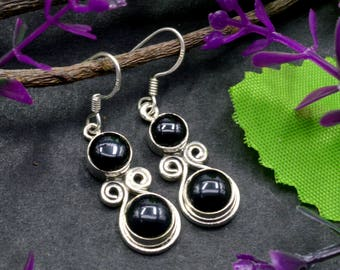 Natural Black Onyx Round Gemstone Drop Dangle Earring 925 Sterling Silver E202