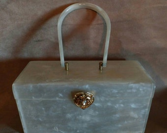 Willardy Mid Century White Pearl Swirled Purse Gold toned Clasp Rectangle