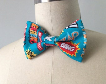 Comic Action Words Bowtie, pre-tied, adjustable bowtie, gift for men, Mens bowtie