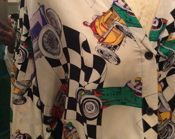Authentic vintage pure silk printed car racing shirt