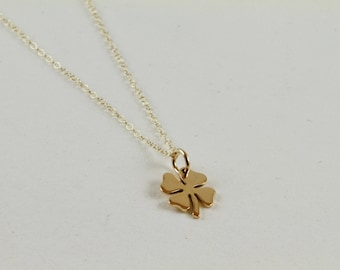 Gold Four Leaf Clover Charm Pendant Necklace Everyday Layering Necklace Good Luck Charm