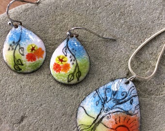 Enamel on Copper/Enamel Earrings/Enamel Pendant/Enamel Necklace/Whimsical Jewelry/Tree of Life/Ready to Ship/Gift For Her/Floral/Tear Drop