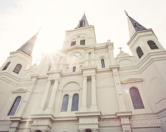 new orleans art, jackson square, french quarter photography, church architecture, white decor, St Louis Cathedral no 4