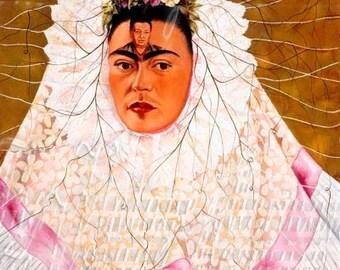 Frida Kahlo Fabric Painting Selfie Self Portrait Mexican Art Quilt Craft Cotton Block FK210