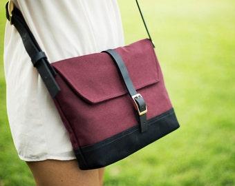 Side Purse Crossbody - Burgundy Red Crossbody Purse for Women - Cute Crossbody Purse - Sling Purse - Canvas Handbag - Shoulder Bag
