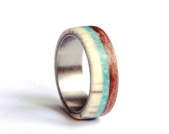 Titanium Mens Ring, Deer Antler Ring, Wood Ring with Turquoise Inlay, Men Antler Wedding Band