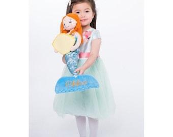 Personalised Mermaid, Rag Doll, Baby Girl Gift, Embroidered Rag Doll. Girls Christening or Birthday Gift.