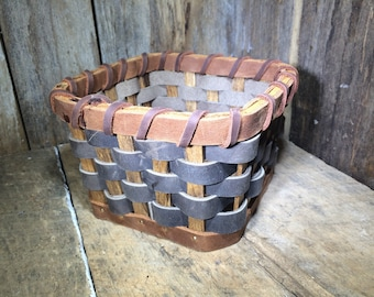 Leather Catch All Basket - Free Shipping - Amish Handmade - Genuine - Brown Handmade - Woven - Made in USA