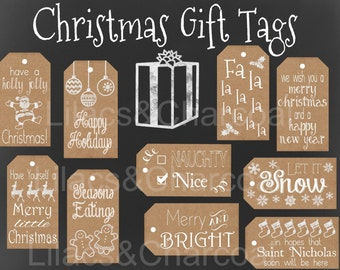 Christmas Gift Tag Set! Kraft Paper Christmas Tags. Instant Digital Download. 10 Tags.