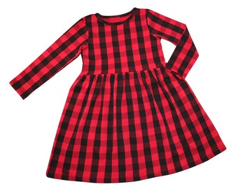 Girls Red Buffalo Plaid Dress - Girls Dress - Baby Dress - Christmas Dress - Black and Red Plaid Dress - Party Dress - Buffalo Check Dress