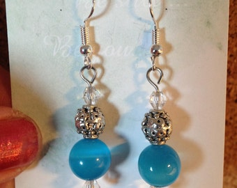 Turquoise Glass Bead and Silver Earrings (Power Beads)