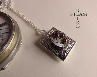 Steampunk necklace, Steampunk book locket necklace with authentic watch movement and  Siam Swarovski crystals - Steampunk