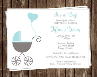 Baby Shower Invitations, Blue, Gray, Carriage, Stroller, Aqua, Hearts, Buggy, Baby Boy, Sprinkle, 10 Printed Invites, FREE Shipping