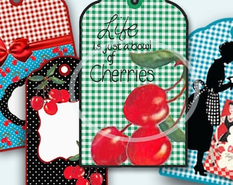 Red Cherries Tag Set Digital,  Gingham, Gift Tags, gift tags, scrapbooking, printable set, mothers day card, digital collage, retro kitchen