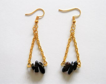 Bead Dangle Earrings, Gold Chain and Black, Unique Design, Jewelry, Gift Idea-Mother's Day, Birthday, Holiday, Special Occasion