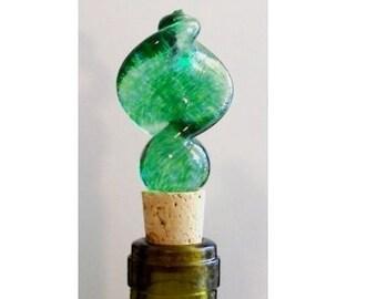 Green Twist - Handsculpted Glass Bottlestopper