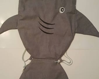 Super Cute Shark  Drawstring  Bag