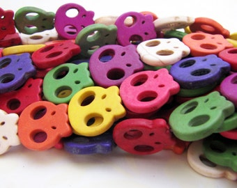 Dyed Howlite Skull beads, Mixed Color, rainbow, day of the dead, gemstone beads, skulls, halloween, boho, sugar skull - reynaredsupplies