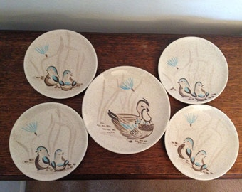 Red Wing Pottery Bob White Hand Painted Plates-Four Small Bread/Dessert and One Med. Luncheon