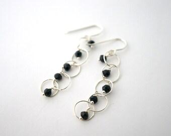 Black Spinel Beaded Chain Earrings, Black Dangle Dangle Earrings, Chain Earrings, SIlver Chain Earrings, Long Chain Earrings