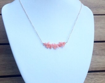 Natural pink coral bar necklace on gold