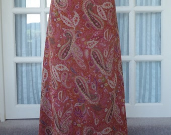 Laura Ashley Skirt 1990s Red Paisley Size UK14 EU40 US10