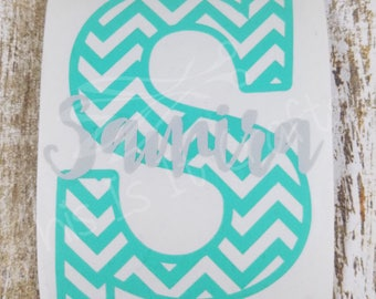 Chevron Monogram Decal - Single Letter Monogram Decal - Car Decal - Water Bottle Decal - Vinyl Decal