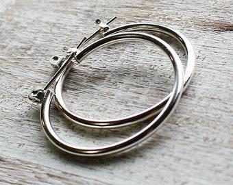 Sterling Silver Lever Clasp Hoop Earrings, Silver Hoop Earrings
