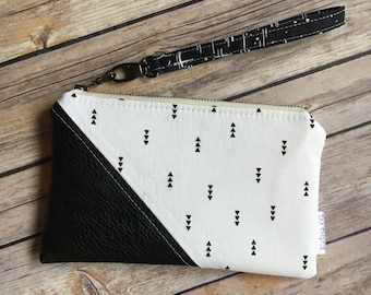 Date Night Clutch, Modern Geometric Clutch, Black and White, Small Wristlet, Zipper Pouch, Vegan Leather and Fabric Wristlet, Small Handbag