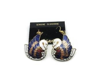 Swan Earrings   NOS Cloisonné Vintage Earrings   Drop Dangle   Enamel Earrings   Birds   Bird Earrings For Pierced Ears