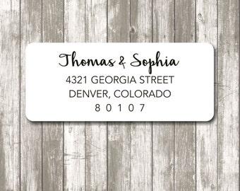 Return address label - custom- 2 5/8 x 1 inch rectangular, white photo gloss label, sticker, wedding announcements - SET OF 30
